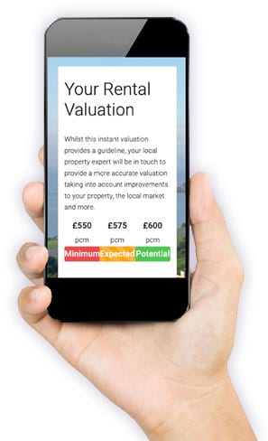 Hand holding example of instant online rental valuation on iPhone